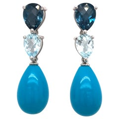 Blue Topaz, London Topaz and Turquoise on Gold 18 Carat Chandelier Earrings
