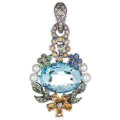 Blue Topaz Multi Gemstone Pendant Enhancer 18 Karat Gold Flower Leaves Jewelry