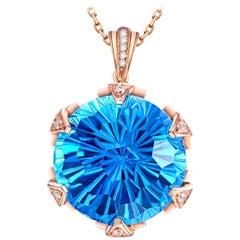 Blue Topaz Necklace 18k Rose Gold