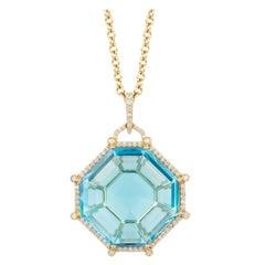 Blue Topaz Octagon Pendant with Diamonds
