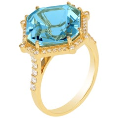 Goshwara Octagon Blue Topaz And Diamond Ring