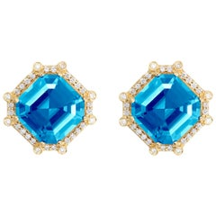 Goshwara Octagon Blue Topaz With Studs And Diamond Earrings