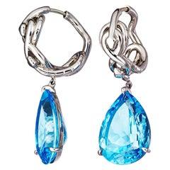Blue Topaz Palladium Earrings