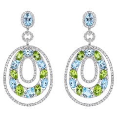 Blue Topaz, Peridot, and Diamond Earrings