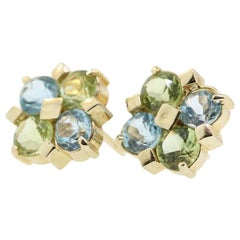 Blue Topaz & Peridot Stud Earrings, 14 Karat Yellow Gold Vintage Cluster Earring