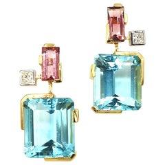 Blue Topaz Pink Tourmaline Princess Cut Diamond Sharp Minimal Line Gold Earrings