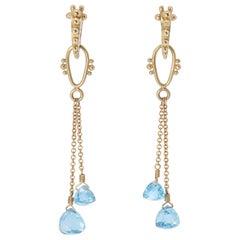 Blue Topaz Rain Beetle Drop Earrings in 18 Karat Gold