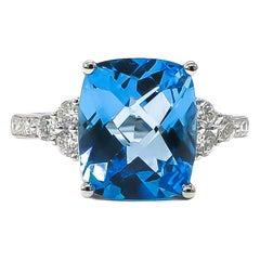 Blue Topaz Ring 6.66 Carat with Diamonds 0.42 Carat 14 Karat Gold