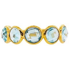 Blue Topaz Ring, Adjustable Ring in 18 Karat Gold 4 Carat Blue Topaz Gemstone