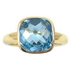 Blue Topaz Ring Set in 18 Karat Gold Settings