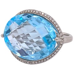Blue Topaz Ring, with Diamonds White Gold, Genuine Checkerboard Cut Natural Gem