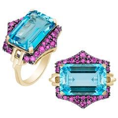 Goshwara Blue Topaz And Pink Sapphires Ring