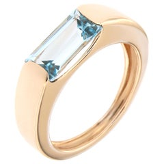 Blue Topaz Rose Gold Band Ring Handcrafted in Italy by Botta Gioielli