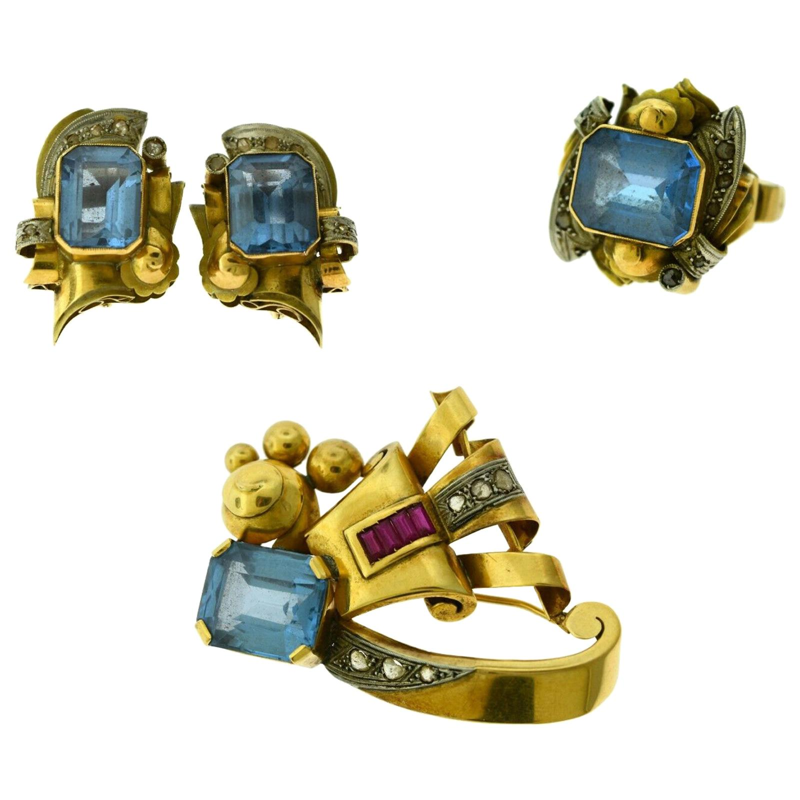 Blue Topaz, Ruby, Diamond Estate 18k Yellow Gold Brooch, Earring, and Ring Set