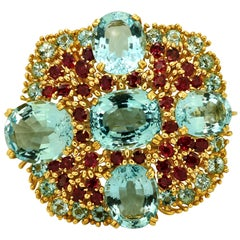 Blue Topaz Ruby Gold Brooch Pendant