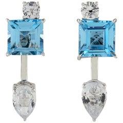 Blue Topaz Sapphire 18 Karat Gold Ear Jacket Earrings