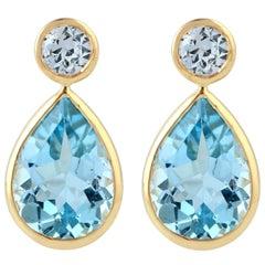 Blue Topaz Sapphire 18 Karat Gold Earrings
