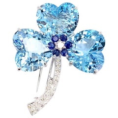 Blue Topaz, Sapphire and Diamond 18 Karat White Gold Clover Brooch