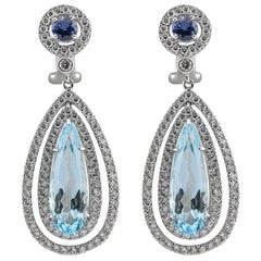 Blue Topaz, Sapphire and Diamond Dangle Earrings