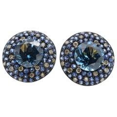 Blue Topaz Sapphire Diamond 14 Karat Gold Earring Stud
