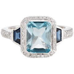 Blue Topaz Sapphire Diamond Ring Estate 18 Karat Gold Alternative Square