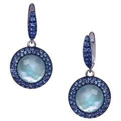 Blue Topaz Sapphire Mother of Pearl White 18 Karat Duplet Gold Earrings