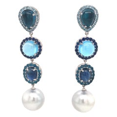 Blue Topaz Sapphire South Sea Pearl Drop Earrings 17 Carat 18 Karat White Gold