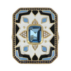 Blue Topaz, Sapphire Studded Enamel Ring with Diamonds in 14 Karat Gold