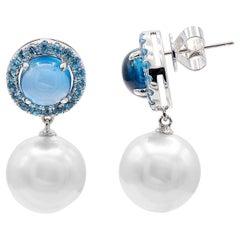 Blue Topaz South Sea Pearl Drop Earrings 6 Carat 18 Karat White Gold