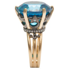 Ammanii Blue Topaz Statement Cocktail Ring Vermeil Gold