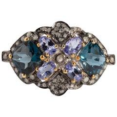 Blue Topaz, Tanzanite and Diamond Ring