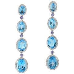Blue Topaz Tanzanite Diamond 18 Karat Gold Linear Earrings