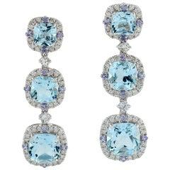 Blue Topaz Tanzanite Diamond 18 Karat Gold Triple Drop Earrings