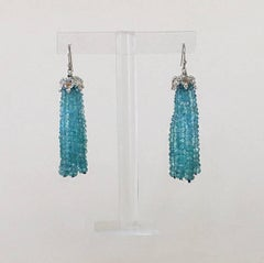 Blue Topaz Tassel Earrings with Gold Plated Silver Cup and 14k White Gold Hook