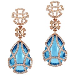 Blue Topaz Teardrop Cage Earring with Diamonds