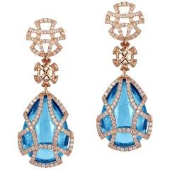 Goshwara Blue Topaz Teardrop Cage And Diamond Earrings