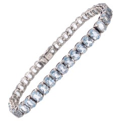Blue Topaz Tennis Bracelet, 20 Carat Blue Topaz Bracelet in Sterling Silver