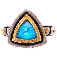 Blue Topaz Trillion Ring Silver and Gold John Atencio Ring Estate Fine Jewelry