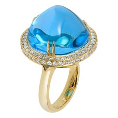 Goshwara Blue Topaz Cabochon And Diamond Ring