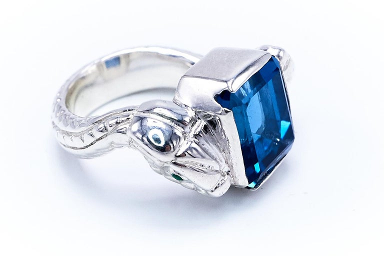 Contemporary Blue Topaz White Diamond Emerald Silver Snake Ring For Sale
