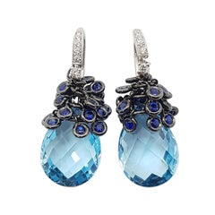 Blue Topaz with Blue Sapphire and Diamond Earrings Set in 18 Karat White Gold