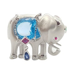 Blue Topaz with Blue Sapphire, Emerald Elephant Brooch/Pendant in 18K White Gold
