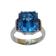 Blue Topaz with Blue Sapphire Ring Set in 18 Karat White Gold Settings