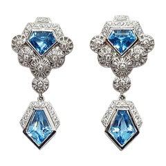Blue Topaz with Diamond Earrings Set in 18 Karat White Gold Settings