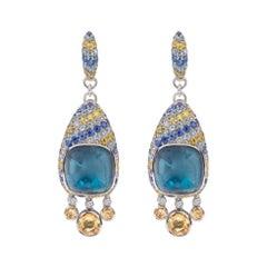 Ukrainian Dream Topaz Yellow Green Sapphire 18 Karat Diamond Citrine Earrings