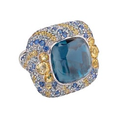 Blue Topaz Yellow Green Sapphire 18 Karat Gold Diamond Citrine Ring