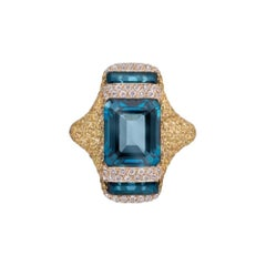 Blue Topaz Yellow Sapphire 18 Karat Gold Designer Diamond Ring