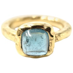 Blue Tourmaline 14 Karat Yellow Gold Hammered Ring