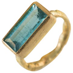 Blue Tourmaline 18 Karat Gold Cocktail Ring Handmade by Disa Allsopp