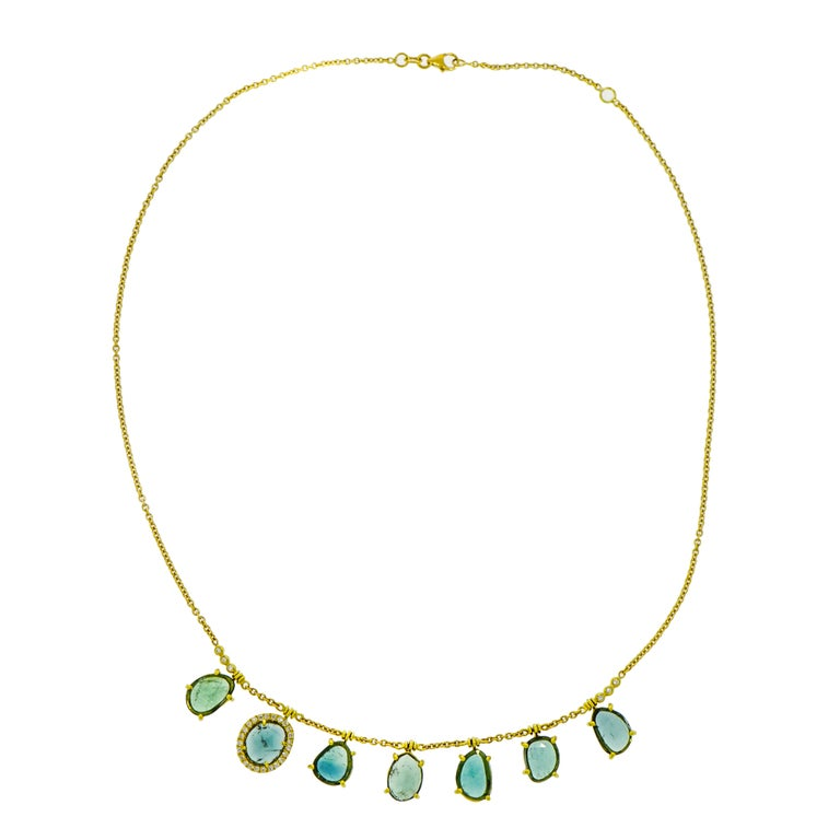 Blue Tourmaline and Diamond Yellow Gold Necklace For Sale